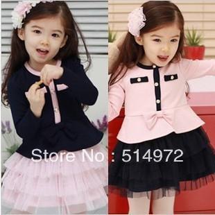 Best Selling!!Autumn elegant girls clothing baby long-sleeve dress Female children's wear+free shipping