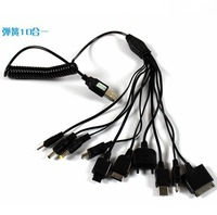 10 in 1 universal retractable spring extension  usb charger cable for mobile phone cell phone free shipping