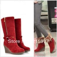 Free shipping wedge thick bottom of the barrel woman's Martin boots black brown red yellow size 34 - 39 code