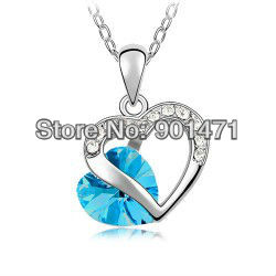 Free Shipping Promotion Valentine`s Day Gifts Wholesale 10 colors Crystal Heart Charm Pendant Necklace Jewelry set(China (Mainland))