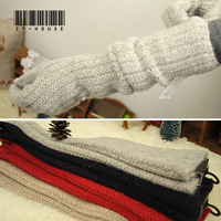 Free shipping! Ultra long winter thickening thermal wool twisted knitted five fingers women's gloves high quality
