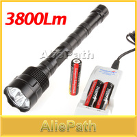 3800 Lumen 3X CREE XML T6 5 Mode LED Extended Flashlight Torch + 3 pcs 18650 Rechargeable Batteries + Charger, Free Shipping