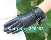 Fashion Women Genuine Leather Winter Warm Wrist Gloves Zipper flowers 3 lines