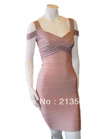 Celebrity HL Free Shipping HL Women Ladies Sleeve Beaded BodyCon Bandage Sexy Party  Cocktail Dress DIS300
