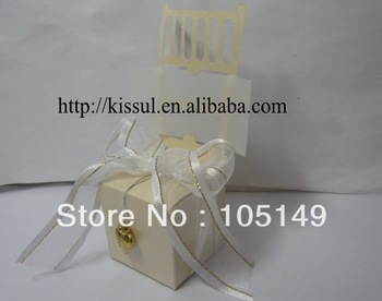 Free shipping 250pcs/lot wedding Miniature Ivory Chair Favor Box with all accessories Wholesale and Retail