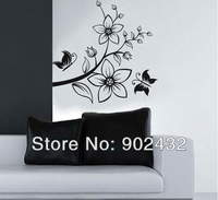Free Shipping Removable Wall Sticker Flowers and butterflies Home Decoration Giant Wall Decals JM7081