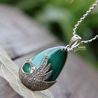 Free Shipping  Wonderful 925 Pure Silver Opal Swan Pendant