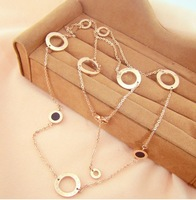 Christmas Sale High Quality 82cm Double Face Shell Sweater Necklace Rose Gold Titanium Steel Chain Necklace