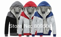 NEW! Men's hooded sweater hoodies Jackets sports wear zip up jacket coat Black Blue Red Free Shipping AF19