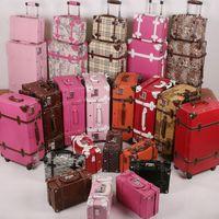 Vintage trolley luggage bag married cosmetic suitcase vintage travel set