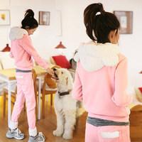 4as xg 2014 new arrival bear ears cartoon hoodies sweatshirt  sportswear twinset set outerwear hoodies + pants birthday