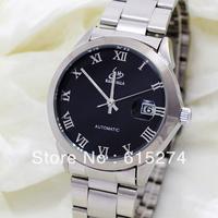 2013 HOT!! Free Shipping Fashion Black Dial steel men's watch  mechanical watch watch wholesale & retail