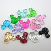 Free shipping fashion 1100pcs 12*16mm mixed 11 colors  Mickey head shape flatback Resin rhinestone for DIY Decoration