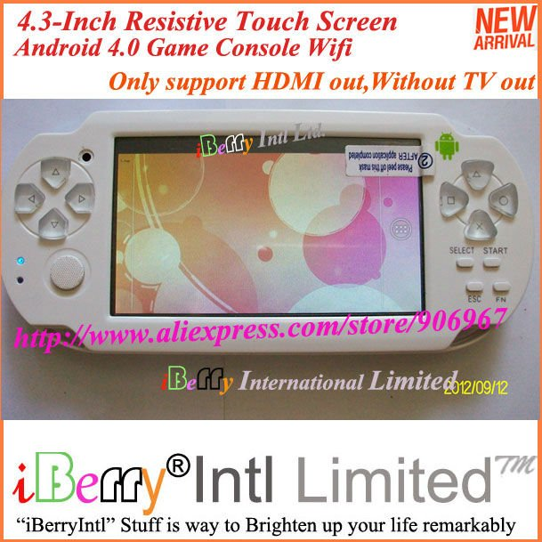 "11PCS/lot New 4.3"" Resistive Touch Screen Wifi Android 4.0 Game Console Player Support HDMI out(China (Mainland))"