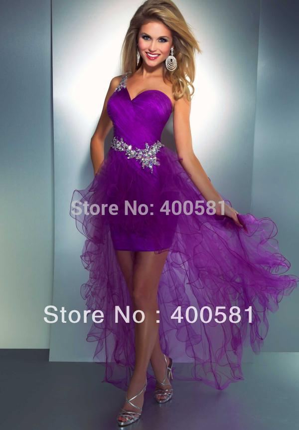Imperial Sweetheart One shoulder Ruffled High Low Beaded Straps ...