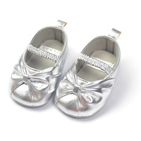 Silver princess shoes baby shoe soft sole footwear toddler children shoes free shipping