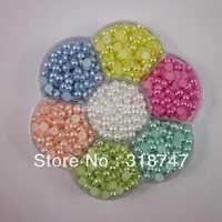 Free Shipping wholesale 1500pcs 5mm Half Round imitation Pearls Flat back Jewelry Garment Accessory Beads DIY