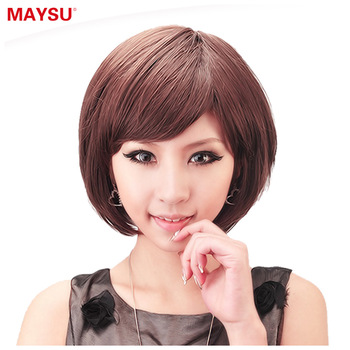 free shipping1pcs High temperature wire bangs fluffy female short straight hair elastin element ht008