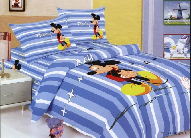 boys/ baby mickey mouse bedding for 100% cotton, cute pattern duvet cover sets for boys(China (Mainland))