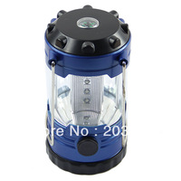 Free Shipping 12 LED Bivouac Camping Hiking Fishing Tent Lantern Light Lamp With Compass Blue