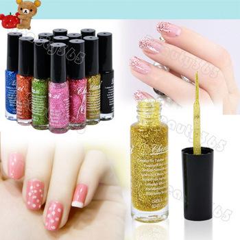 New 12 Colors 10ml Fluorescent Nail Polish Liner Brush Pen Nail Varnish Nail Enamel Freeshipping 6618