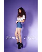 Wholesale women's tall waist sexy hot pants/jeans,Western ladies Skinny minishort,short Jeans denim short pants,by free,ID:10125