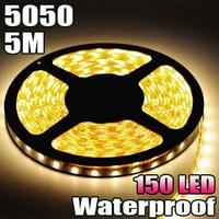 Free Shipping! Waterproof Warm White 5M 5050 SMD Flexible LED Strip Light 30LED/M 150LED