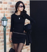 2012 women&#39;s solid color OL slim o-neck long-sleeve knitted basic skirt one-piece dress