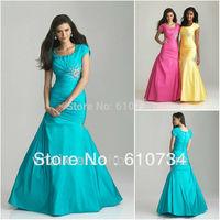 SE0009 Pink Yellow Blue Short Sleeve Fishtail Designer Evening Dress