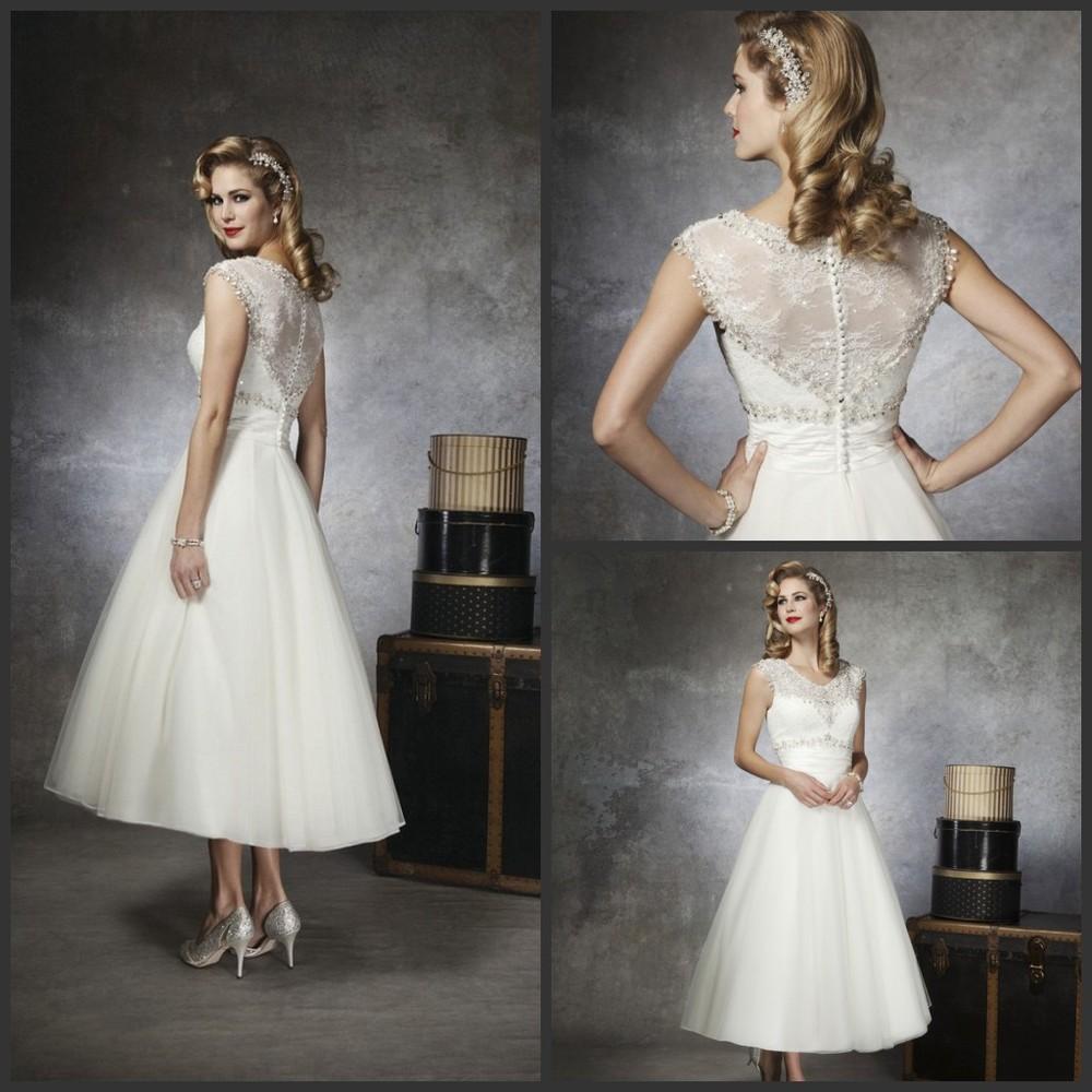 Tea Length Wedding Dresses with Sleeves