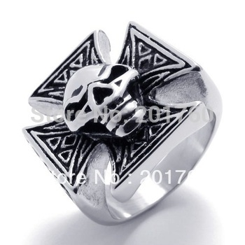 Punk rock accessories Stainless steel Casting Classical skeleton cross ring men punk Band Rings 75131 free shipping