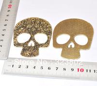Flat Antique Bronze Retro Alloy Charm Skull Head, DIY Jewelry Findings Handmade Case Accessory 1PCS