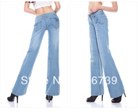 Wholesale mid waist boot cut jeans women,big size mill white female flared trousers,lady's cotton pants/trousers,by free,ID:1788