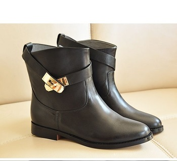 Free shipping women ankle boots,winter Fashion designer classic buckle gold metal boots,natural genuine leather shoes for ladies