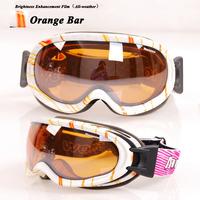 Free shipping Dual PC lens anti-fog/Scratch coating Super lens ski / riding goggles/eyeglasses with rubber Anti-slip strip M069