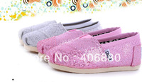 Best selling! children glitters sparkle flat canvas shoes breathable slip on sequin girls shoes Free shipping 1pair