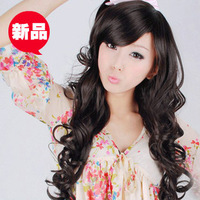 Free shipping Albaricoque non-mainstream wig long roll fluffy cute wig bang girls wigs kinkiness