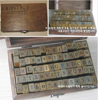 free shipping Wooden Stamps AlPhaBet digital and letters seal 70 pcs set standardized form stamps Regular script letters