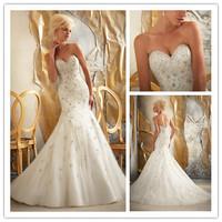 New Design NI-7793 Elegant  Sweetheart Mermaid Beaded Embroidery Tulle White/Ivory Wedding Dress VESTIDO DE NOIVA