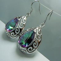 Free delivery drop shape fashion topaz 925 silver earring