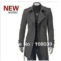 Men New Fashion Epaulets Thickened Long Wool Winter Coat/Hot Sale Jacket Black/Dark Gray(China (Mainland))