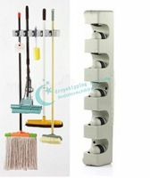 5 Position Kitchen Storage Mop Broom Organizer Holder Tool Plastic Wall Mounted Free Shipping