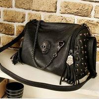 Aliexpress 2012 fashion skull motorcycle tassel women's scull chain handbag shoulder cross-body black bag wholesale
