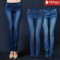 Fashion Trend Elastic Skinny Pencil Denim Jeans Pants Women  Mid Waist Tight Trousers  Size 26-32