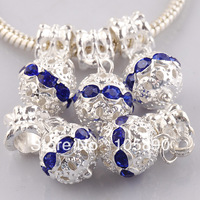 Wholesale 8x10mm Blue Crystal Rhinestone Silver Ball Pendant European Charms Beads PB266-20