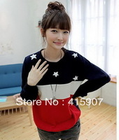 2012 spring and autumn women's patchwork loose casual long-sleeve sweatshirt 015