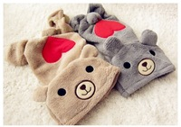 Free shipping LOVE U RED Heart BEAR Warm Thick Fleece DOG Clothes JUMPSUIT XS,S,M,L,XL #M060