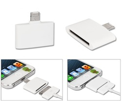 Free Shippping 5pcs/lot 8 Pin to 30 Pin Data Cable Adapter Converter for iphone 5 5th for ipad mini(China (Mainland))