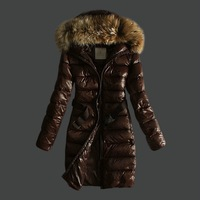 2012 Winter Women's Down Coat PU leather Jacket Duvetica luxury large fur collar wool Lady's s down jacket  casual outerwear EMS