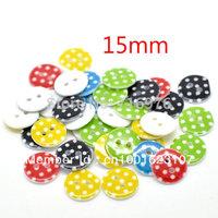 Wholesale Free shipping 200Pcs Mixed Dot 2 Holes Resin Sewing Buttons Scrapbooking 15mmDia.Knopf Bouton(W01395 X 1)
